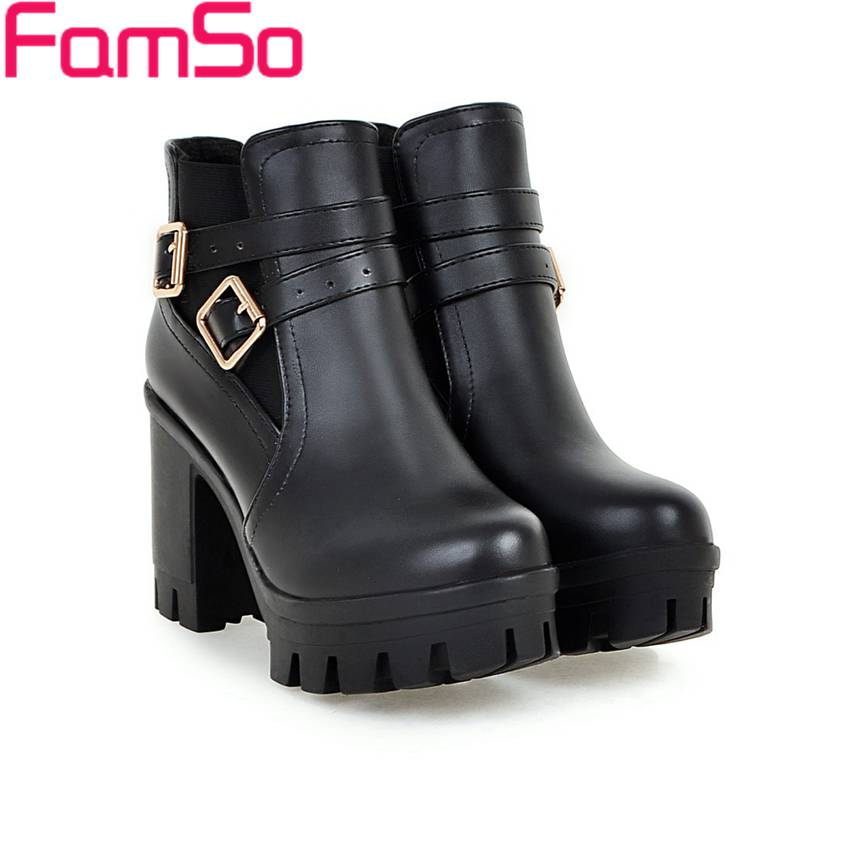 Free shipping 2017 Retro Style Women Boots High Heels office Ankle Boots Buckle Platforms Short Waterproof Snow Boots SBT4220<br><br>Aliexpress