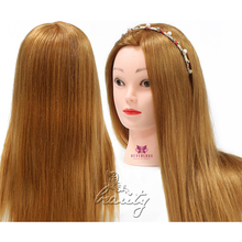 "24"" 50% Real Hair College Hairdressing Training Head Hair Cut Mannequin Doll Brown #27"