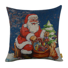 "LINKWELL 18x18"" Merry Christmas Gift Rusted Dark Blue Santa Claus Tree Dog Burlap Cushion Cover Pillowcase Season Decoration"