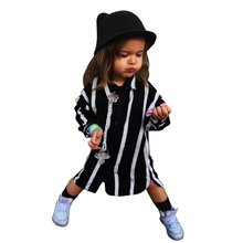 Autumn Baby Boy Girl Black white Blouse Top long-sleeved striped shirt Children Kids Fashion Tops Blouses(China)