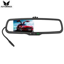 "4.3"" TFT LCD Screen Car Rear View Rearview Mirror Monitor Video Player Special Bracket 2 Video Input For Backup Rearview Camera"