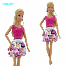 Handmade Pink Tiered Skirt Dinner Party Outfit Casual Travel Wear Vest Dress Clothes For Barbie Doll Pretend Play Accessories