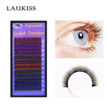 Colored Eyelashes Soft Silk Rainbow False Eyelash Colorful Hair Extension Cilia Red Orange Blue Purple Cilios Lashes LAUKISS(China)