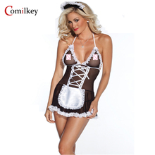 Buy Sexy Lingerie Lace Costumes Women Set Erotic Uniform Baby Dolls Girls Temptation Sex Hair Accessories Exotic Apparel Maid outfit