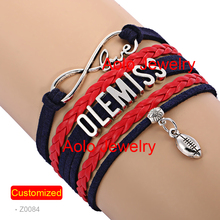 6Pcs/Lot OLE MISS FOOTBALL Infinity Bracelet NAVY/RED Make Your Own Design Free Shipping