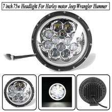 7 inch 75w Round LED Headlight  High Low Beam Led Chip For Harley motorcycle Jeep Wrangler Hummer