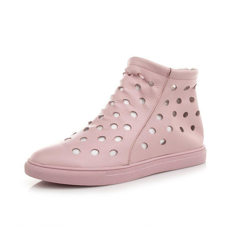 Summer Style Cool Boots Flat Bottomed Sneaker Women Leather Shoes Zipper Hole Shoes Sports Flat Boots Women Shoes<br>