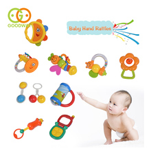 GOODWAY 10pcs Food Grade Plastic Baby Rattles Nontoix Teethers Newborns Music Hand Bell Educational Toys for 0-12 Months Baby(China)