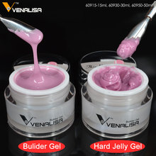 VENALISA 15ml LED Hard Jelly Gel 24 Color CANNI Nail Art Manicure 3D Mold Clear Pink Camouflage Jelly Builder Nail Extend UV Gel(China)