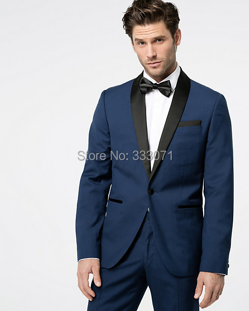 Custom Made Light Navy Blue Groom Tuxedos Black Shawl Lapel Blazer 2 Piece Bridegroom Groomsman Suit Mens Wedding Party Suits