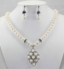 wholesale Beautiful white pearl purple crystal earrings necklace jewelry set