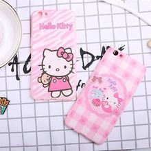 Cute Cartoon Hello Kitty Soft TPU Phone Case for Oppo F1s Fashion KITTY Peach Drink Silicone Back Cover for Oppo F1 PLUS Neo9