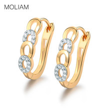 MOLIAM Ladies Huggie Earrings for Women Desirable Round Brilliant White Crystal Cubic Zirconia Hoop Brinco Hot Sale MLE157(China)
