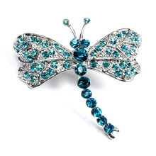 Free Shipping 2017 Fashion Dance Party Jewelry Insects Blue Dragonfly Rhinestone Brooches Women Costume Jewelry Brooch 1.9*1.8""