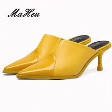 2017 New Fashion Summer High Glass Heel Pumps Platform Slip-on Mules Women Shoes Poited-Toe Female Sexy Shoes Yellow White Black