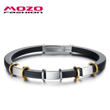 MOZO FASHION Cool Men Jewelry Black Genuine Silicone Bracelets Rubber Wristband Simple Stainless Steel Men Charm Bracelet MPH840