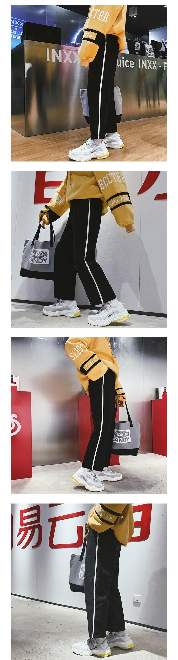 2018 Spring Newest Men's Fashion Hip Hop Style Side Stripe Wide Leg Harem Pants Elastic Waist Loose Casual Black Trousers M-2XL