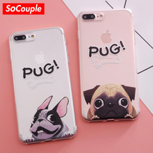 SoCouple Pocket Dog TPU Phone case for iphone 7 5 5S SE For iphone 6 6s 6/7/8 plus X Funny BullDog Pug Pattern Silicone case(China)