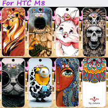 Hard Plastic&Soft TPU Phone Cover For HTC One 2 One M8 M8s M8x 5.0 inch Cases Cool Skull Cute Minions Flower Protective Shell
