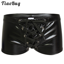Buy Mens Sexy Faux Leather Shiny Boxers Exotic Underwear Gay Male Latex Wetlook Shorts Panties Bikini Swimwear Cool Fetish Lingerie