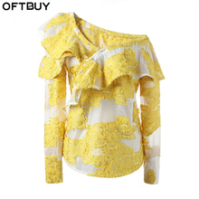 OFTBUY women blouses 2017 korean new summer shirt yellow Dobby Ruffles off shoulder top lace blouse Women tops blusa clothing(China)