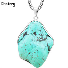 Irregular Pendant Natural Stone Necklace For Women Vintage Antique Silver Plated Unique Random Design Fashion Jewelry TN188