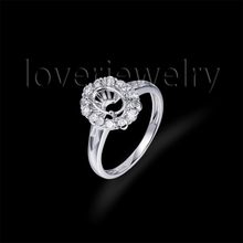 Hot!Solid 18Kt White Gold Natural Diamond Setting Ring,Oval 5x7mm Engaging Ring Mounting For Sale WU232(China)