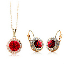 United States Moon red Moon River Crystal Jewelry Sets NECKLACE EARRINGS  SET USA Style