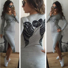 Women Fashion Wing Print Pencil Dress Sexy Autumn Black Gray Slimming Dress O-neck Full Sleeve Casual Party Angel Dress B6