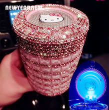NEWYEARNEW KITTY Ashtray for Car Ashtray Portable Led Light Diamond Crystal Cute Female Fashion Car Decoration birthday Gift(China)