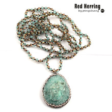 Free Shipping Fashion 4mm Mini Blue Color Glass Knotted Handmake Paved Natural Stone Drop Pendant Necklaces(China)