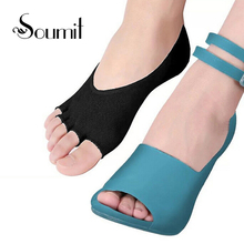 Soumit Invisible Five Toe Short Socks Insoles Cotton Low Cut Boat Ankle Sock Shoe Pad for Women Sandal High Heels Shoes Insole(China)