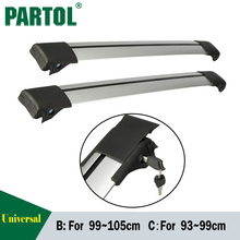 Partol Car Roof Rack Cross Bar Top Roof Box Luggage Boat Bike Carrier Anti-theft Lock Adjustable For 93~99cm 99-105cm vehicles