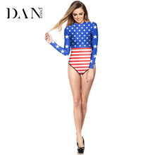 DANENJOY Sexy Thong One Piece Swimsuit American Flag Printing Long Sleeve Swimwear Swimsuit Push Up Bathing Suit Lady Bodysuit