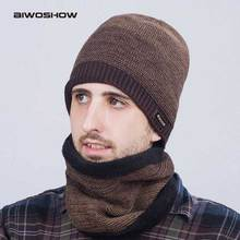 scarf and hat Style Men's Winter Hat Scarf Sets Balaclava knitted Cap For Men Outdoor Neck Warmer Collars Beanies Skullies(China)