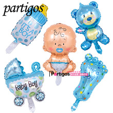 5pcs/lot mini Baby Shower Boys Girls Holiday Decorations Foil Balloons Stroller Helium Balls Birthday Party Supplies globos