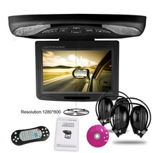 XTRONS Black Color 11.3 inch Monitor 1280*800 Car Roof Mount Flip Down DVD Player Double Dome LED Light Swivel Game+2 Headphones