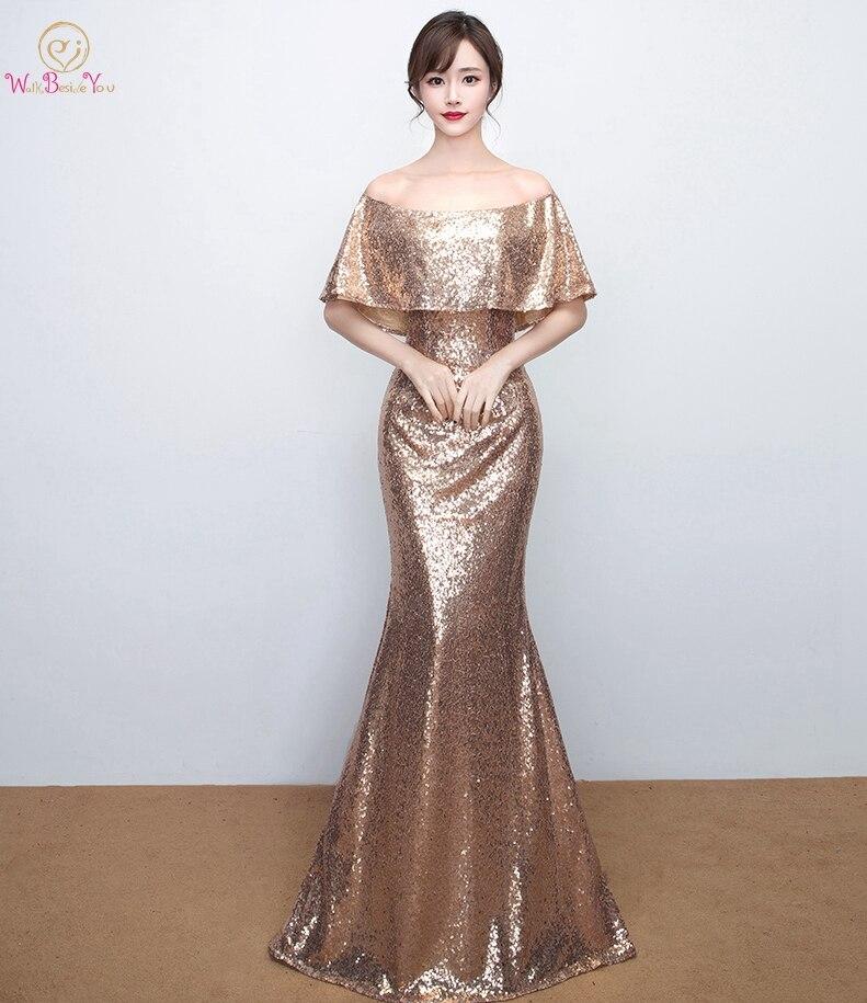 Walk Beside You Boat Neck Evening Dresses vestidos de festa longo Bling  Gold Sequined Off Shoulder 7ad5877558d6