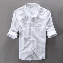 Buy Summer Breathable Ventilated linen shirts men Long Sleeve Solid Slim Leisure men shirt linen Clothes Fashion Brand Clothing for $19.99 in AliExpress store