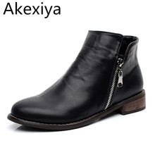 Akexiya High Quality Soft Leather Women Shoes Autumn Women Boots,OX1991Brand Black Female Boots,Fashion Flat Heels Ankle Boots
