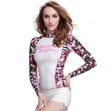 2017 Summer NEW Women's Rash Guard UV Sun Protection Long-Sleeve White Print Lycra Quick Dry Surfing Wetsuit Swimming Shirt