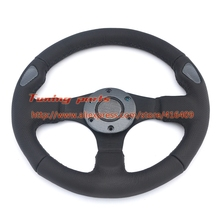 Free Shipping JET Steering Wheel Leather 13 inch Flat Car Steering Wheel Sport Game Steering Wheel(China)