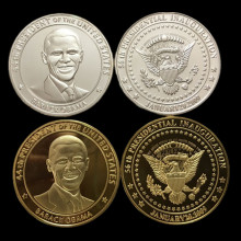 2 pcs/lot, The president of United state Barack Obama America real silver gold plated souvenir coin