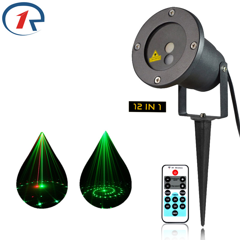 ZjRight Red Green laser lights Remote Control 12 dynamic effects bar Christmas Outdoor Waterproof projection house garden lights<br>