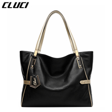 CLUCI Women Genuine Leather Luxury Handbags Vintage Zipper Black/Red/Gold/Purple/Blue Shoulder Bag Top-handle Bags Neverfull(China)
