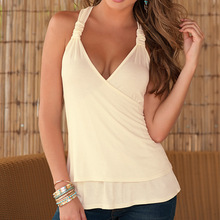 EBAY Amazon Wish Foreign Trade New Pattern Back Split Joint Lace Halter Small Vest Woman 1192