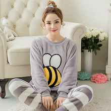 New 2017 Winter Women Long Sleeve Sets Pajamas Sleepwear Suit Thicken Warm Flannel Nightgown Girl Cartoon Bee Pijama Mujer(China)