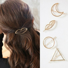 2017 New Hairpins Triangle Moon Hair Pin Jewelry Lip Round Hair Clip For Women Barrettes Head Accessories Bijoux De TeteHeadwear