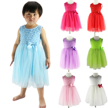 Wennikids Cheap Sale Vestidos Party Princess Dresses Girl Sleeveless Rose Flower Chiffon Dress Summer Dress For Girls