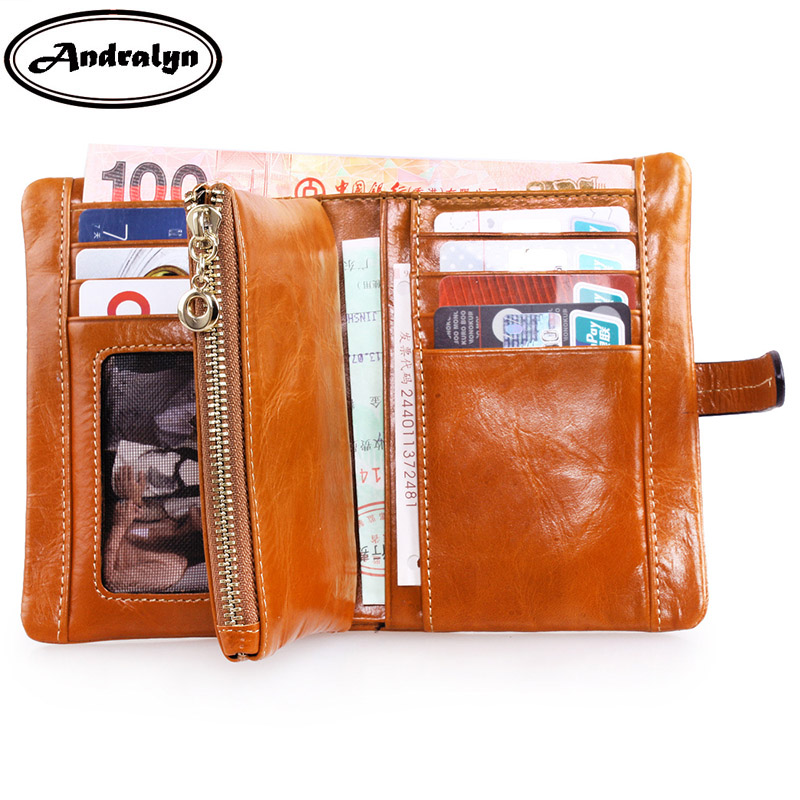 Andralyn Oil Wax Leather Ladies Wallets Women Genuine Leather Soft Purse Three-fold Short Design Vintage Coin Wallets for Women<br>